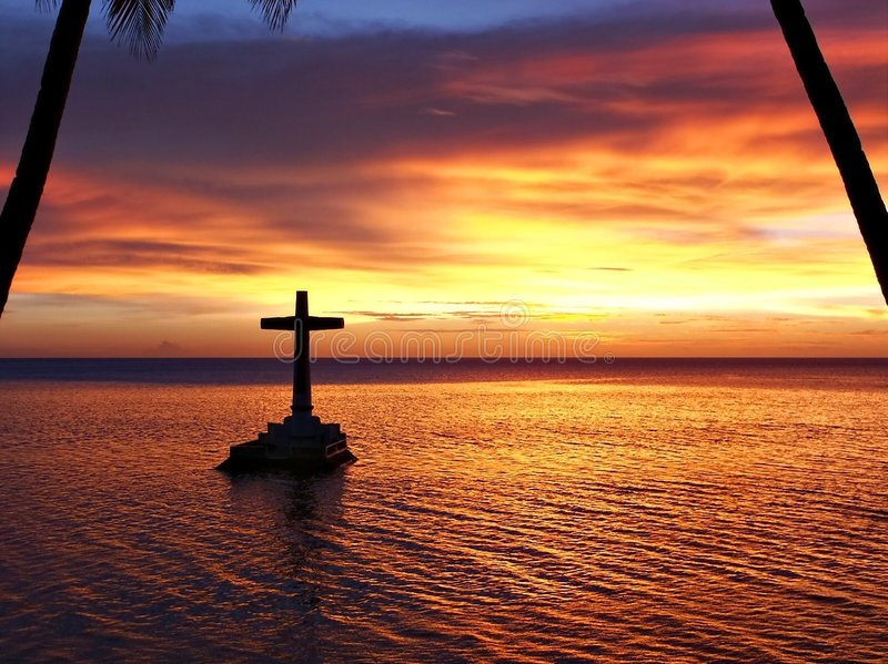 Download Tropical Sunset With Cross Silhouette Royalty Free Stock Photos - Image: 187968
