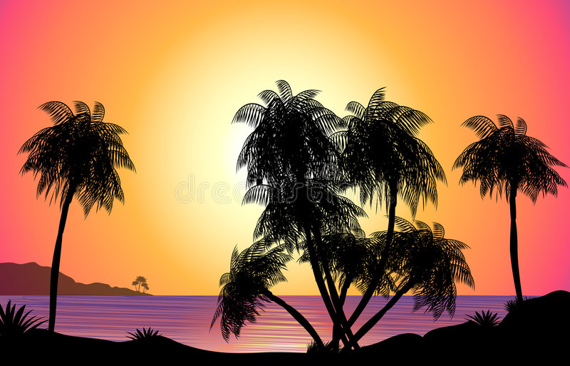 Download Tropical Sunset Illustration Stock Illustration - Illustration of colors, shadow: 2161871