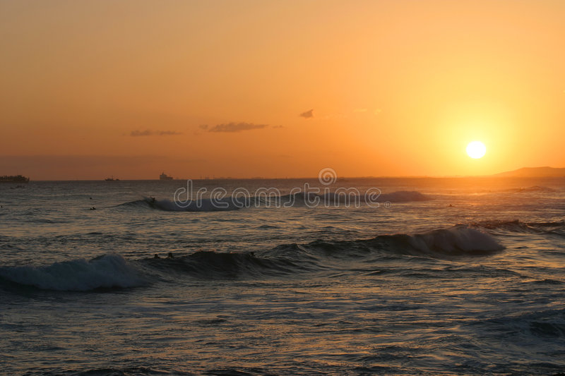 Tropical Sunset Over the Pacific Ocean royalty free stock photos
