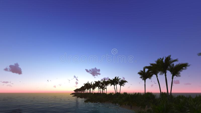 Tropical sunset with palm trees 3D render. Tropical sunset with silhouette palm trees 3D render royalty free stock photos