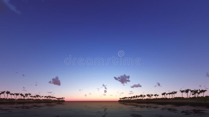 Tropical sunset with palm trees 3D render. Tropical sunset with silhouette palm trees 3D render royalty free stock photography