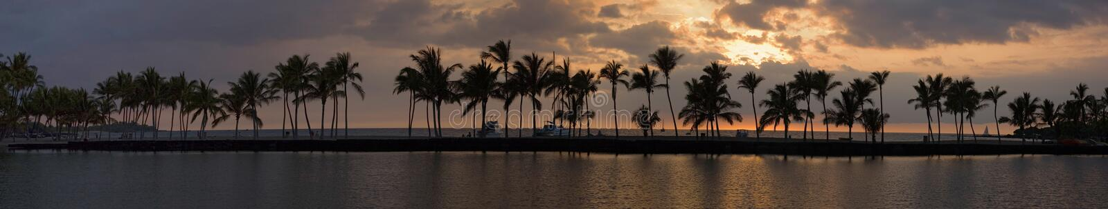 Tropical sunset panorama royalty free stock images