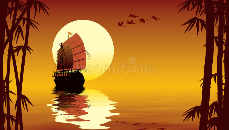 Tropical sunset stock illustration