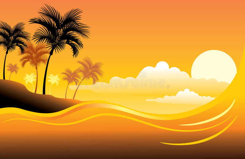 Tropical sunset seascape vector illustration