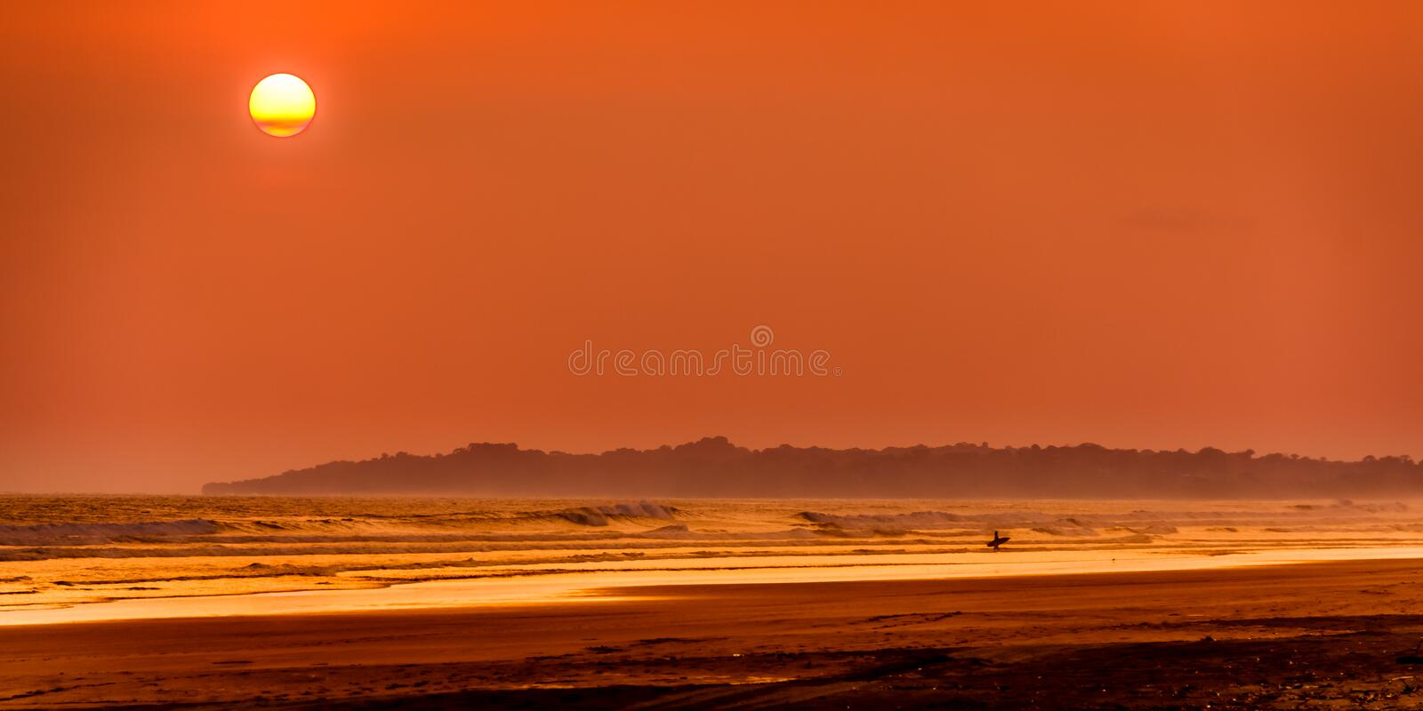 Tropical Sunset. Summer sunset in Playa Bejuco, Costa Rica stock images