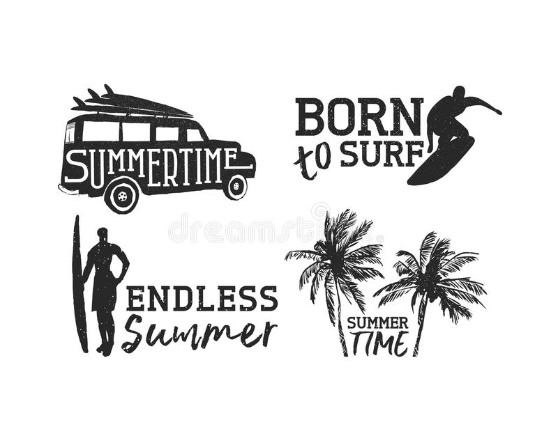 Tropical surf label set for summer beach vacation vector illustration