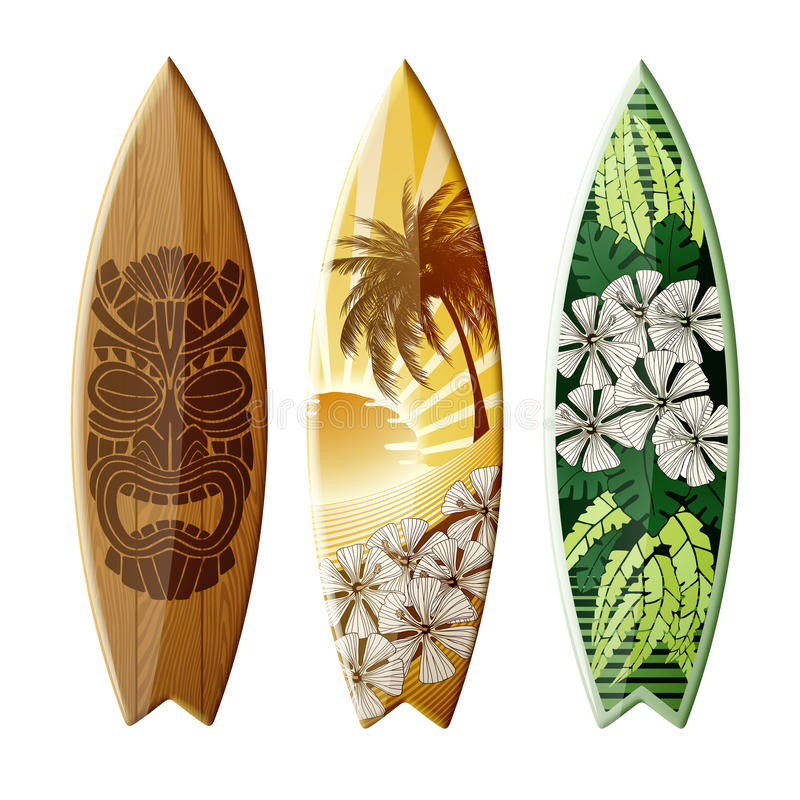 tropical surfboard art isolated stock vector illustration of graphic wooden 76845858. Black Bedroom Furniture Sets. Home Design Ideas