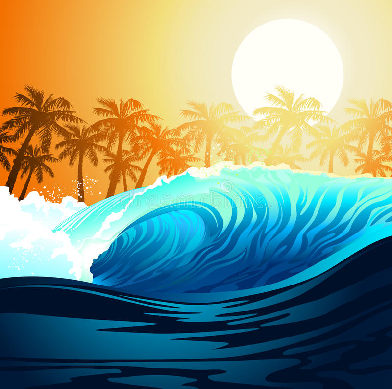 Tropical surfing wave at sunrise with palm trees stock illustration