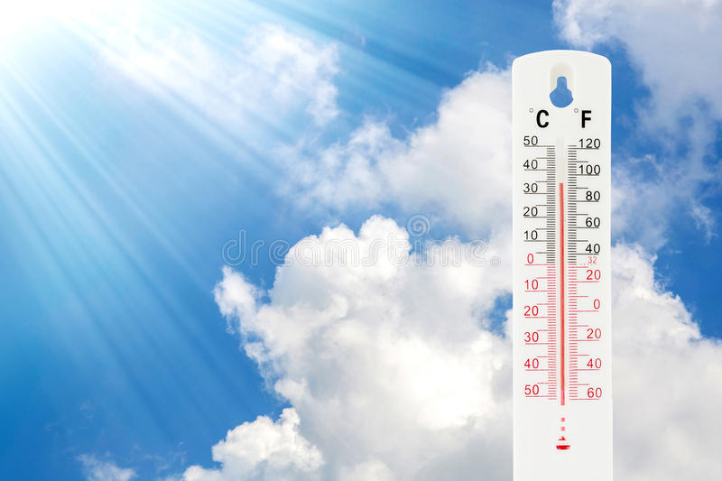 Tropical temperature of 34 degrees Celsius, measured. On an outdoor thermometer royalty free stock photography