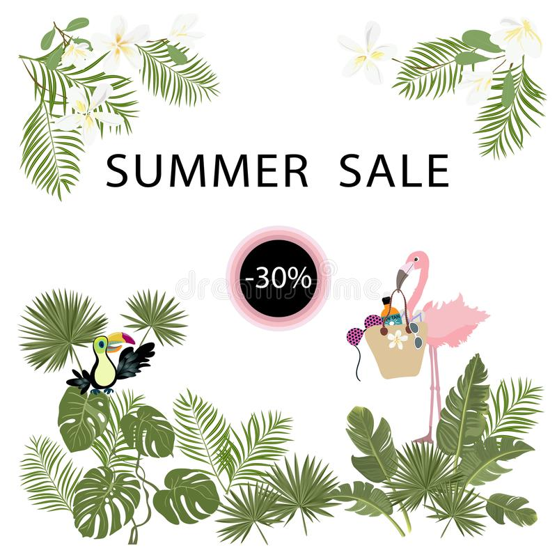 Tropical template for summer sale poster, banner, postcard, flowers, plantn, flamingo, toucan birds Vector isolated vector illustration