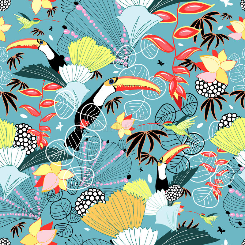 Tropical texture with toucans and hummingbirds royalty free illustration