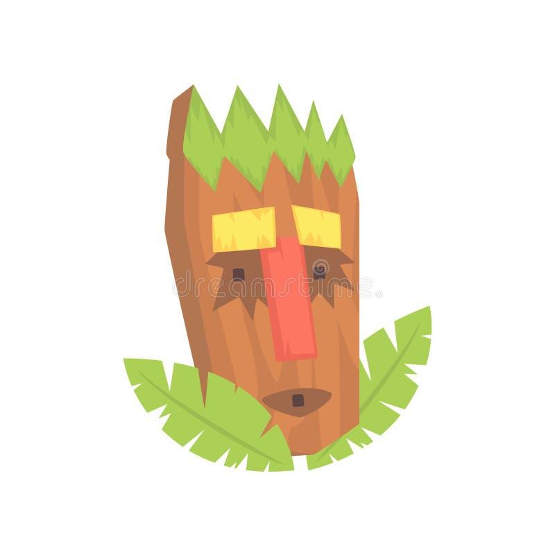 Tropical Tiki mask, tribal totem cartoon vector illustration. Isolated on a white background stock illustration