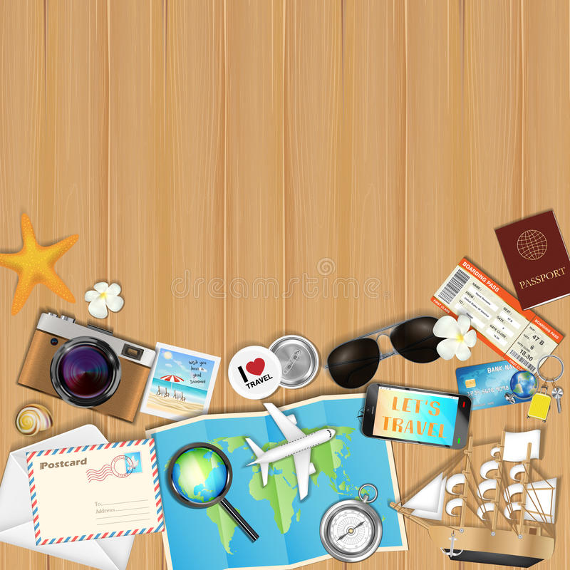 Tropical travel object set on wood board background stock images