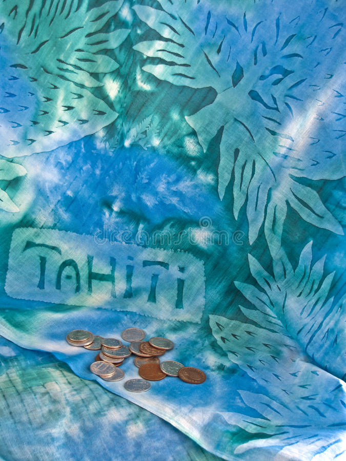 Tropical Travel Vertical. Tahiti textile with French Polynesia coins stock image