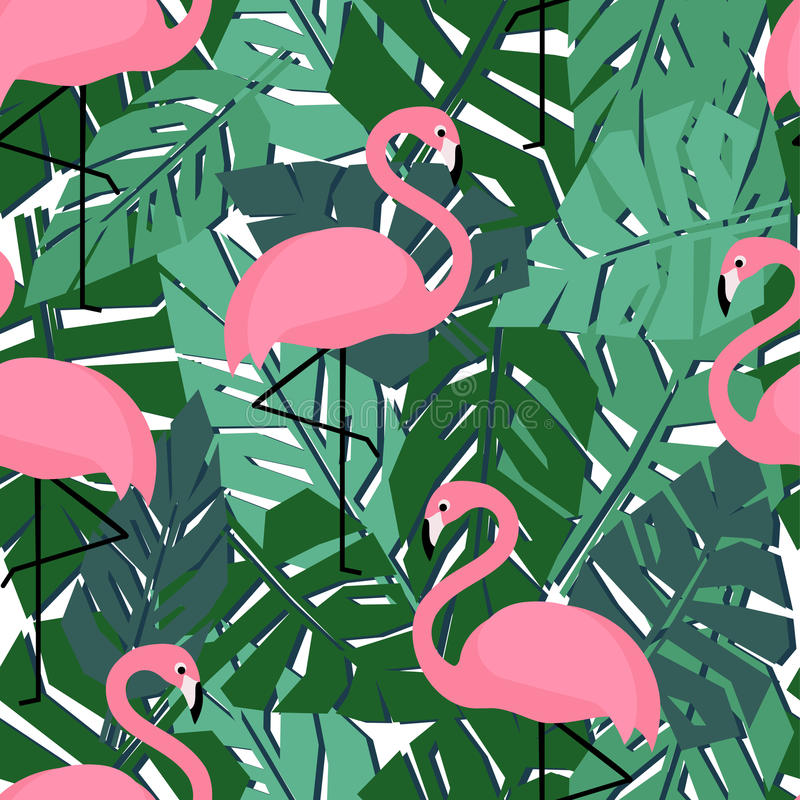 Tropical trendy seamless pattern with flamingos and palm leaves. stock illustration