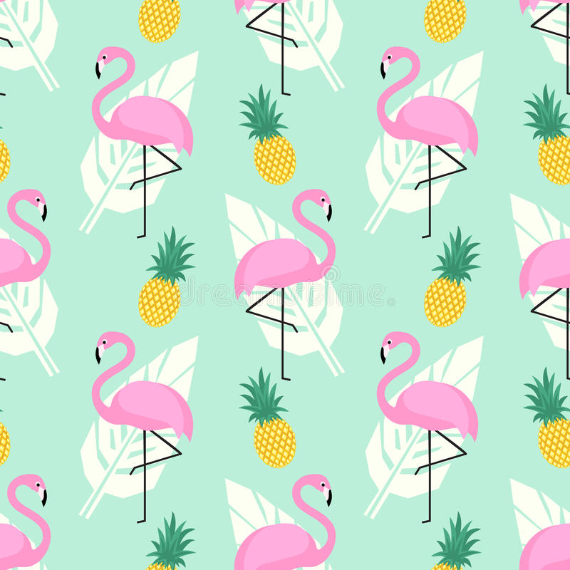 Tropical trendy seamless pattern with pink flamingos, pineapples and palm leaves on mint green background. royalty free illustration