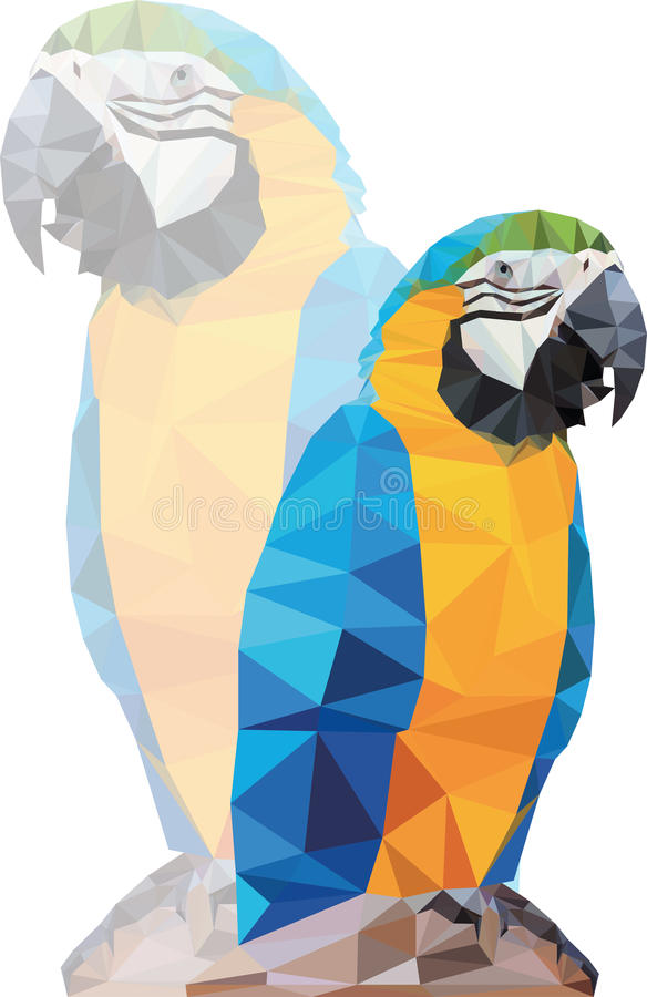 Tropical triangular blue macaw parrot on a rock illustration stock photos