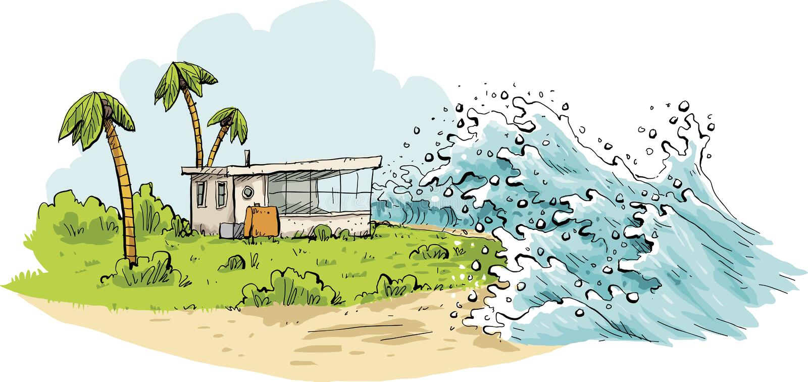 Tropical Tsunami Waves. Cartoon of a relaxing tropical vacation destination being swamped by huge tsunami waves coming over a beach stock illustration