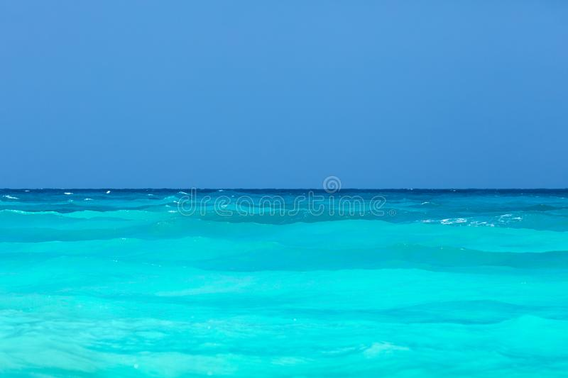 Tropical turquoise sea and blue sky. Tropical turquoise sea and clear blue sky stock images