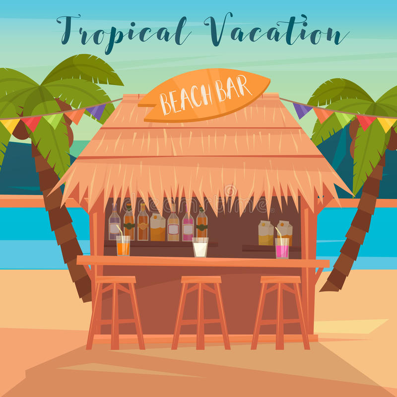 Tropical Vacation Banner with Beach Bar and Palm Trees. Vector illustration for summertime vector illustration