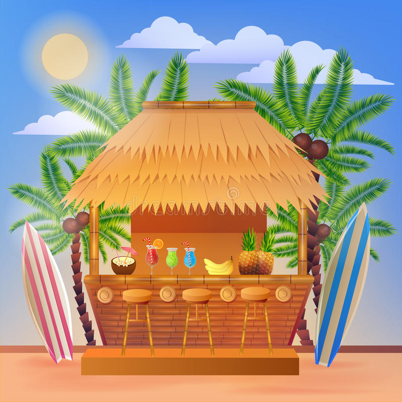 Tropical Vacation Banner with Beach Bar and Palm Trees. Vector illustration for summertime royalty free illustration