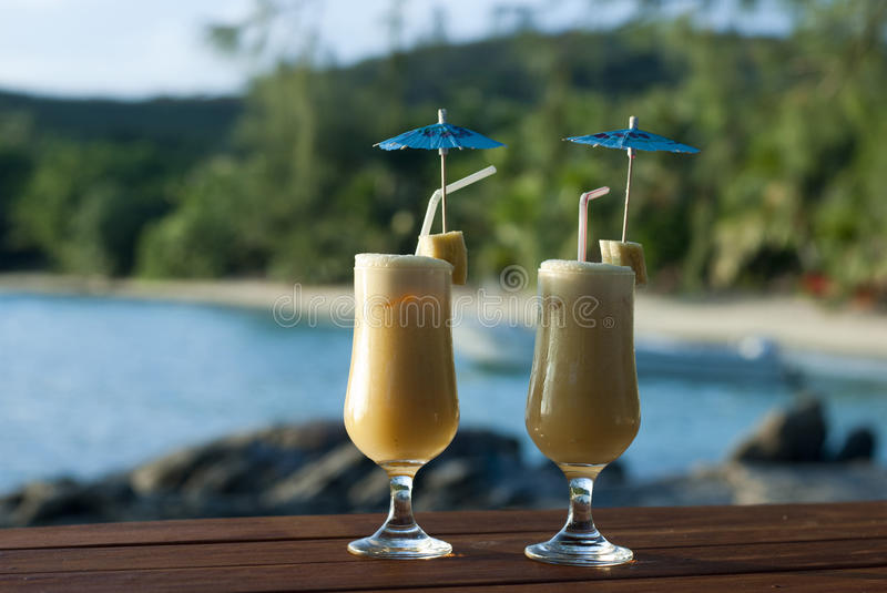 Tropical vacation cocktails stock image