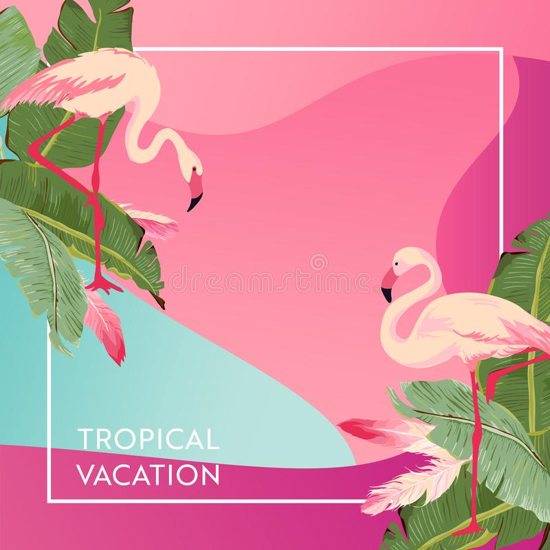 Tropical Vacation Layout with Flamingo Bird for Web, Landing Page, Banner, Poster, Website Template. Summer Background vector illustration