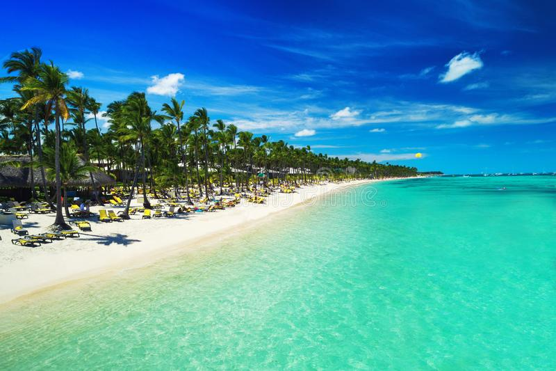 Tropical beach in Punta Cana, Dominican Republic. Aerial view over exotic resort. Parasailing. Sunbathing. Tropical vacation in Punta Cana, Dominican Republic royalty free stock image