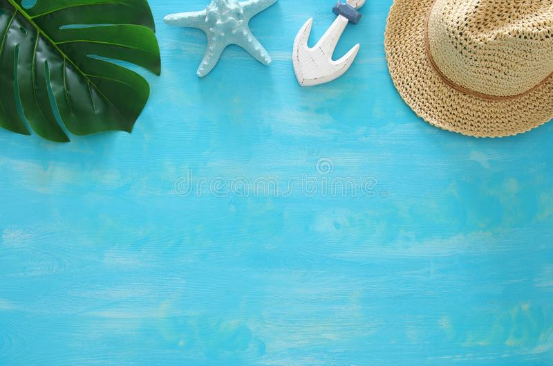Tropical vacation and summer travel image with sea life style objects. Top view. Tropical vacation and summer travel image with sea life style objects. Top view royalty free stock image