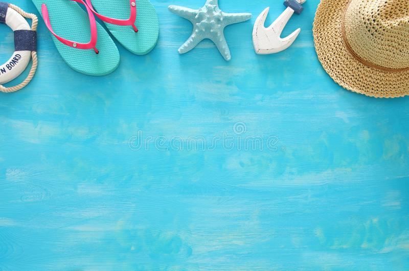 Tropical vacation and summer travel image with sea life style objects. Top view. Tropical vacation and summer travel image with sea life style objects. Top view stock photo