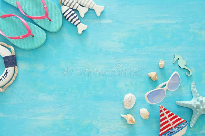 Tropical vacation and summer travel image with sea life style objects. Top view. Tropical vacation and summer travel image with sea life style objects. Top view royalty free stock photography