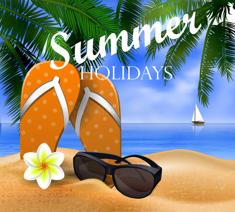 Tropical vector background. With leaves of palm trees summer sky and clouds flip flops and sunglasses on a sand beach royalty free illustration