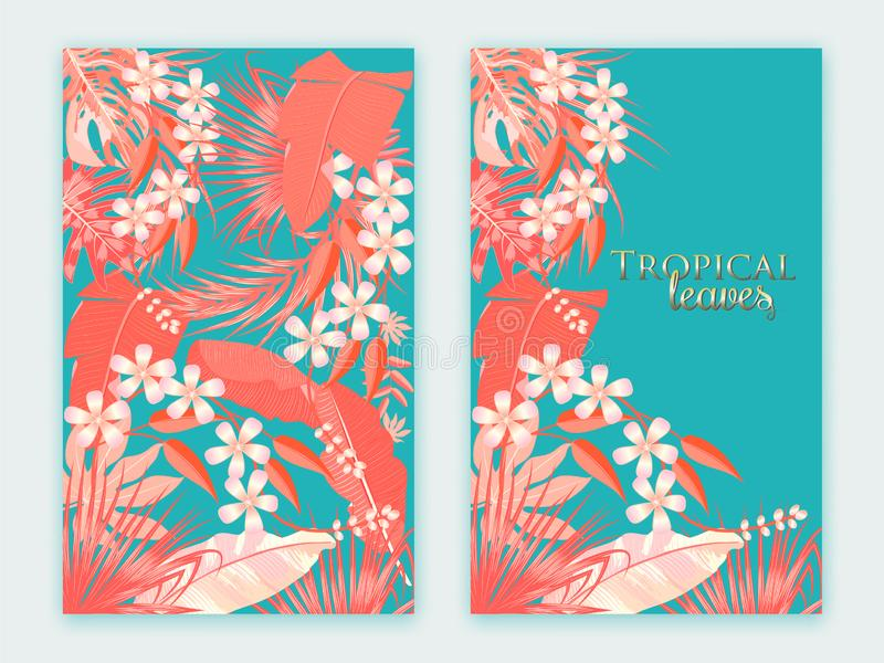 Tropical vector background in Living Coral color. Main trend con royalty free illustration