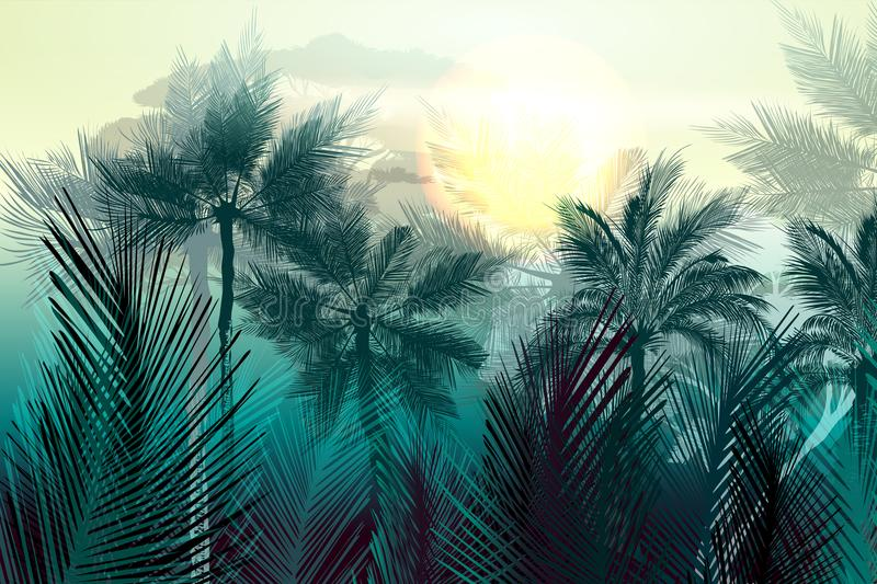 Tropical vector jungle landscape with palm trees and leafs. vector illustration