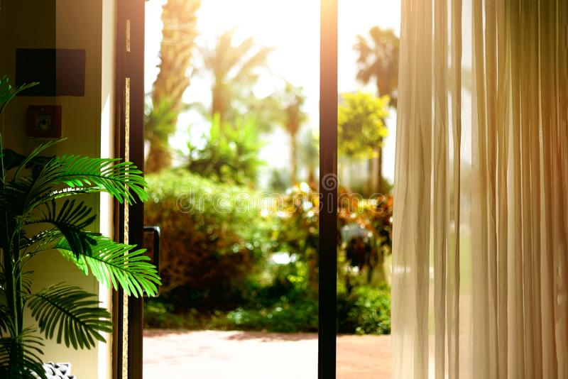 Tropical view background. Summer, travel, vacation and holiday concept. Open window, door and white curtain with blurred. Palm garden view from hotel. Exotic stock image
