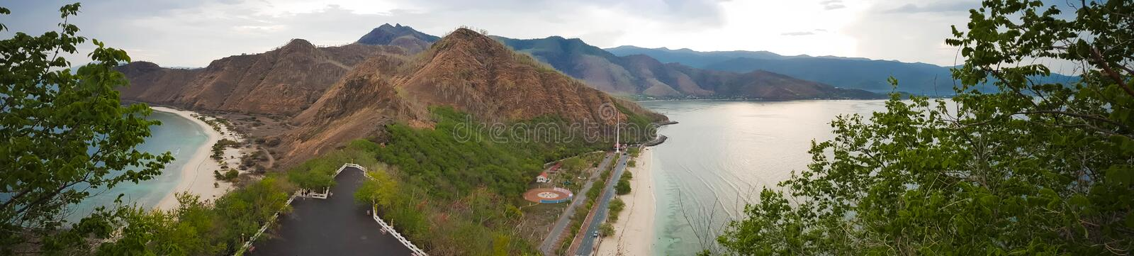 Tropical view from Cristo Rei Statue in Dili, East Timor. DILI, EAST TIMOR - DECEMBER 6, 2018: Tropical view from Cristo Rei Statue in Dili, East Timor royalty free stock photos
