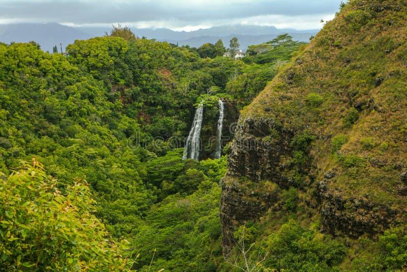 Tropical Wailua Falls Kauai Hawaii royalty free stock photo