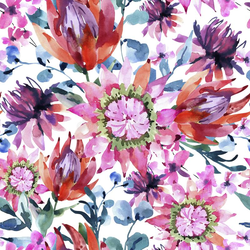 Tropical watercolor protea flowers seamless pattern. Exotic pink bouquet, eucalyptus, twigs and leaves stock illustration