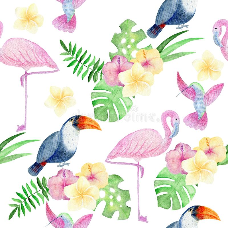 Tropical seamless pattern. Tropical watercolor seamless pattern with birds and flowers stock illustration