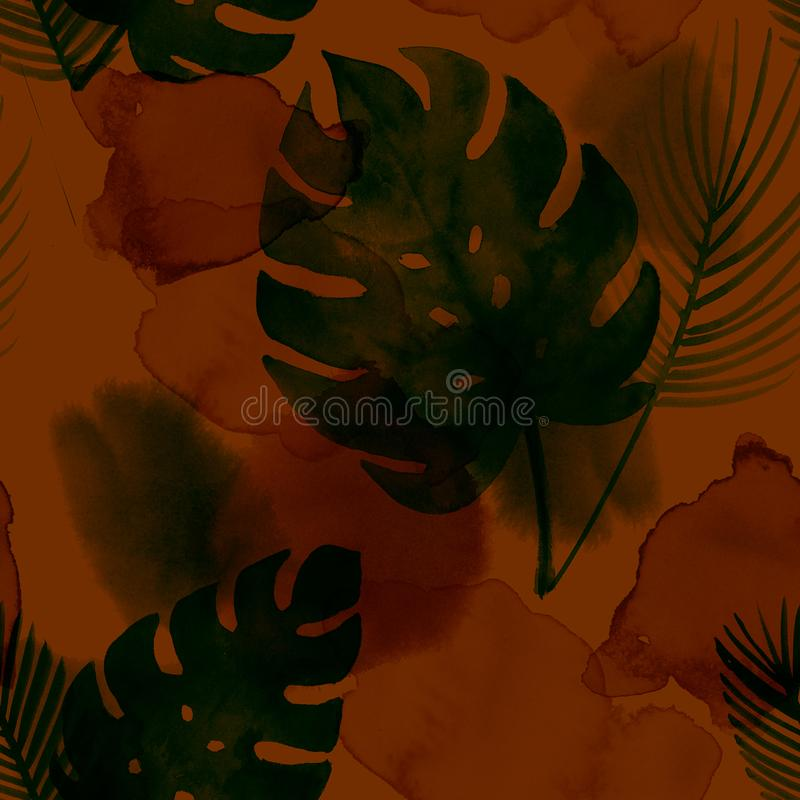 Tropical Watercolor Seamless Pattern, Botanical Bohemian Exotic Monstera Textile Design. Winter, Summer Vintage Drops and Monstera stock images