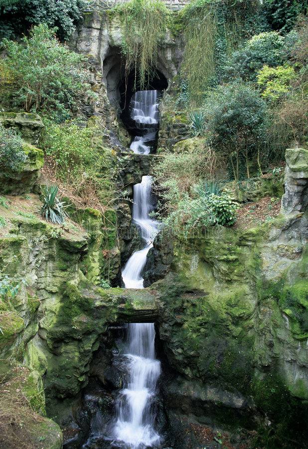 Tropical Waterfall. A recreation of a tropical waterfall in Paris, France stock photos