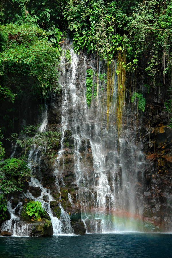 Download Tropical Waterfall Detail With Rainbow. Stock Photo - Image: 1724786