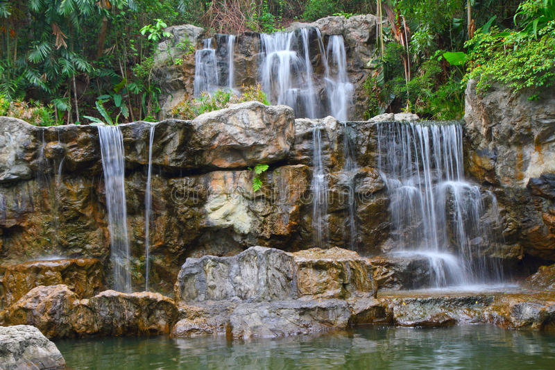 Tropical waterfall in forest. Tropical waterfall in Thailand forest stock photography