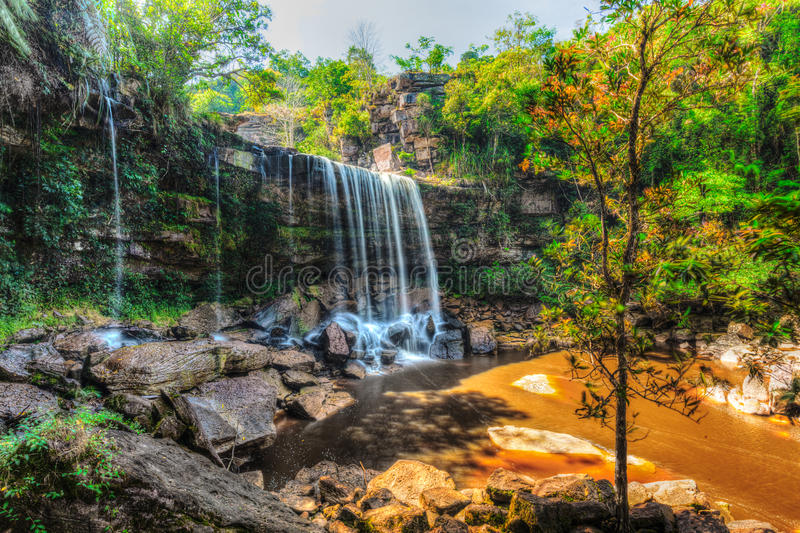 Tropical waterfall HDR image royalty free stock images