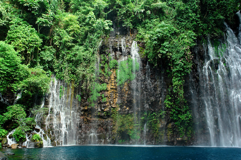 Tropical waterfall in jungle royalty free stock photography