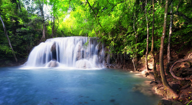 Tropical waterfall in Thailand, nature photography royalty free stock photography
