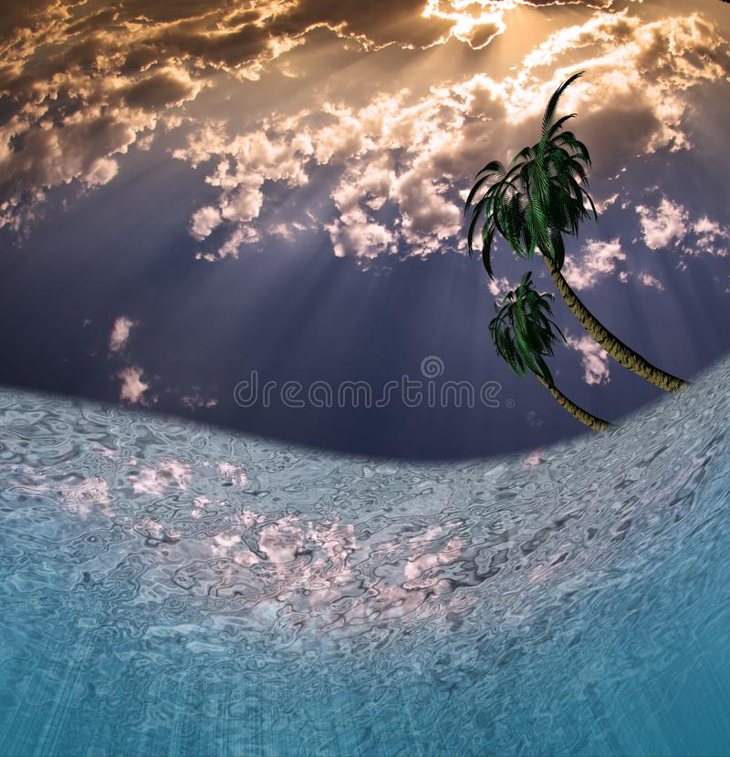 Tropical Waters. Beautiful sunrise and palm trees stock illustration