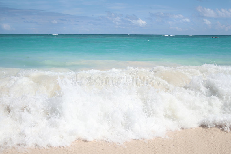 Tropical Waves on White Sand Beach, Ocean