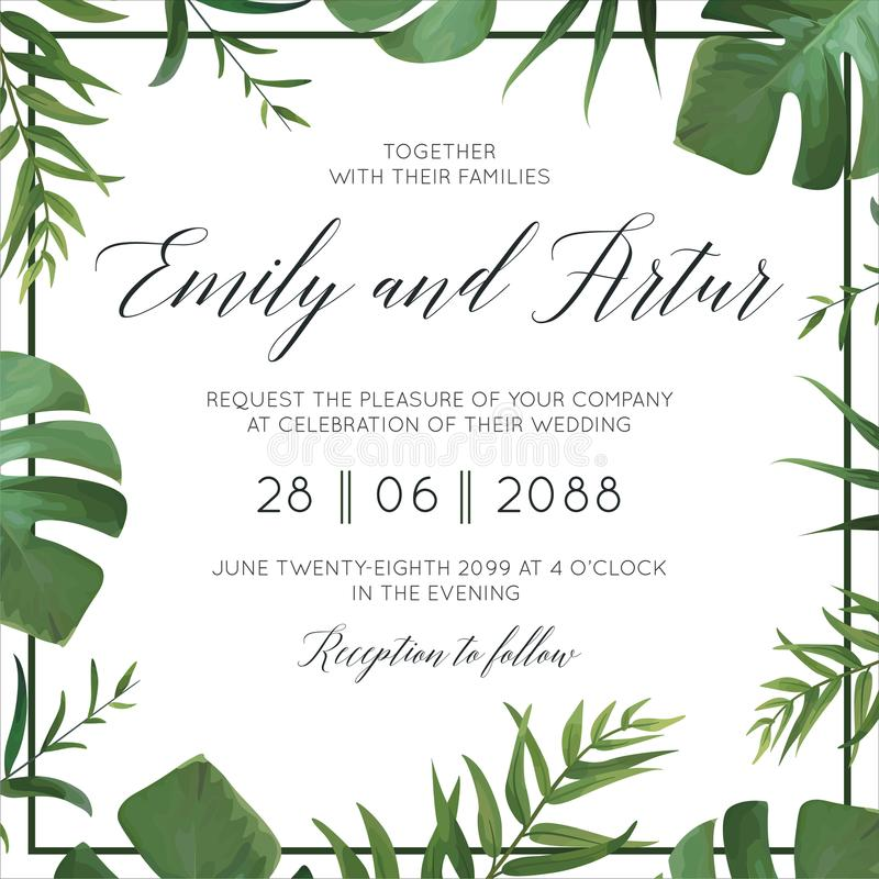 Tropical wedding floral invitation, invite card. Vector watercolor style exotic palm tree green leaves, forest greenery herbs, nat royalty free illustration