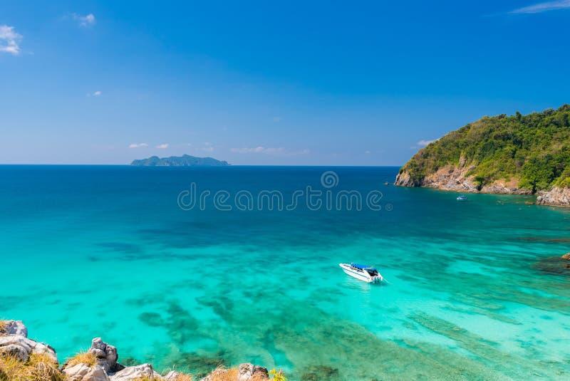 Tropical white sand beach Aerial royalty free stock photo